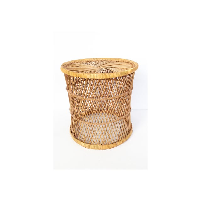 Vintage Rattan Stool Plant Stand - Image 2 of 5