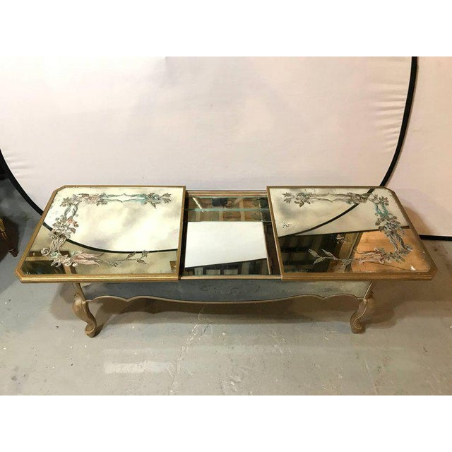 Hollywood Regency Italian Paint Decorated Sliding Mirror Top Coffee Low Table - Image 2 of 10