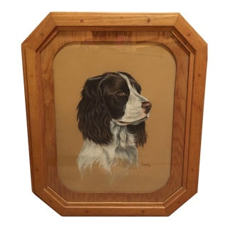 Conte Crayon Portrait of an English Springer Spaniel Hunting Dog in Handmade Octagonal Frame