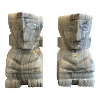 Large White Marble Tiki Bookends