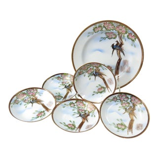 Vintage Hand Painted Serving Bowl Set With Bird Motif - Set of 6