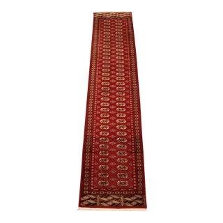 "Persian Torkaman Bohkara Wool Hand Knotted Rug 12'-3.5"" x 2'-7.75"""