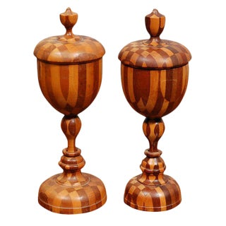 Near Pair Antique Turned Wood Chalices