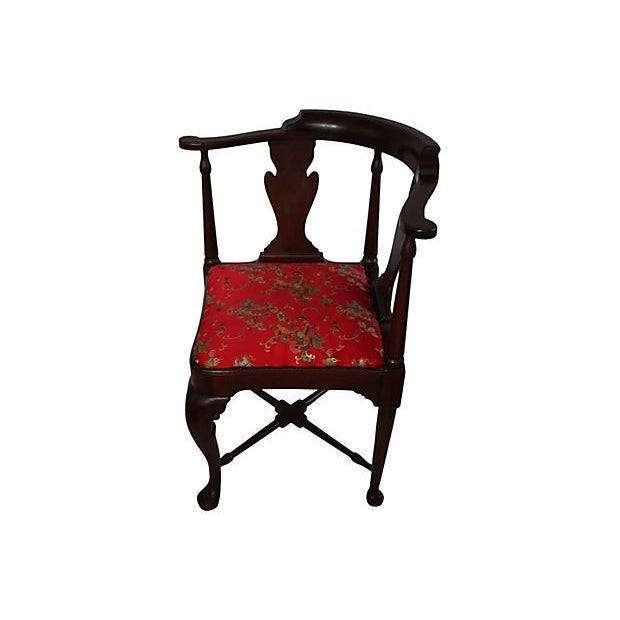 Vintage Queen Anne Chinoiserie Corner Chair - Image 2 of 5