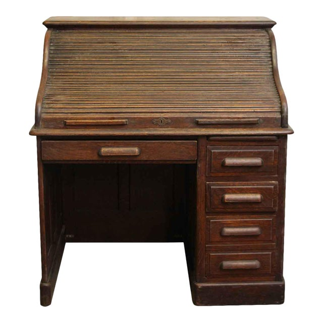 Oak Roll Top Desk with Original Finish - Image 1 of 7