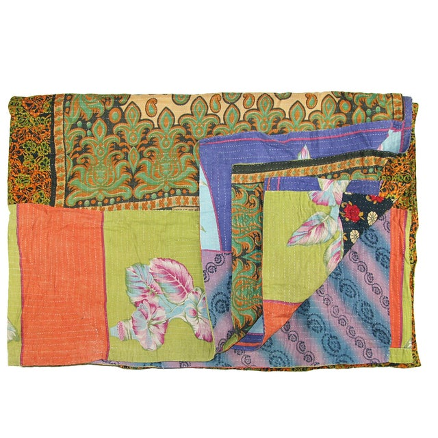 Image of Vintage Green & Blue Kantha Quilt