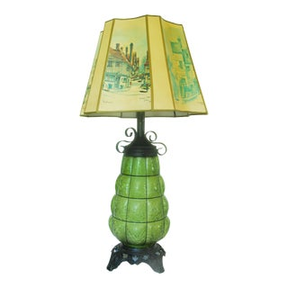 Mid-Century Green Glass Table Lamp