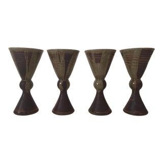Vintage Mid-Century Moss Green Handmade Goblets - Set of 4