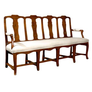 French Walnut Upholstered Long Bench