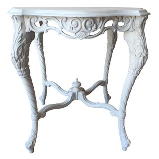 Vintage French White-Painted Table