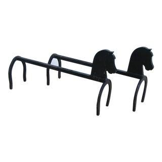 Mid-Century Iron Equestrian Horse/Horseshoe Andirons - Pair