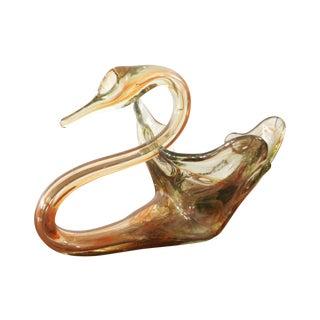 Vintage Blown Glass Swan Bowl