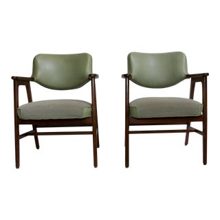 Mid-Century Green Lounge Chairs - A Pair