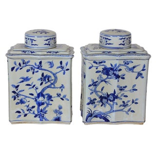 Vintage Sarreid LTD Blue & White Curved Jars - A Pair