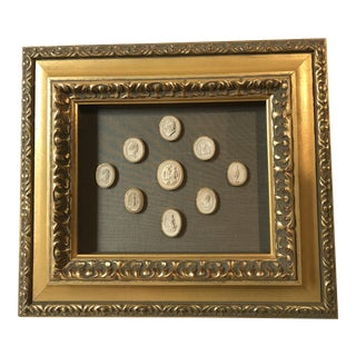 19th Century Gold Framed Italian Intaglios
