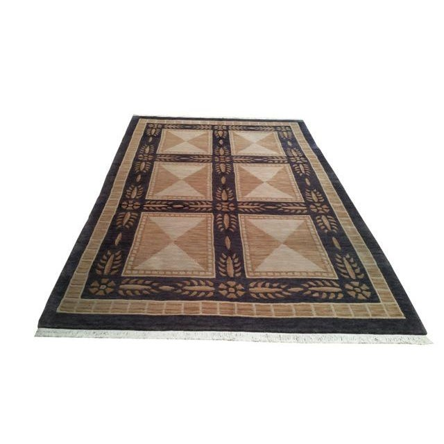 Tibetan Handmade Knotted Contemporary Rug - 5′5″ X 8′5″ - Size Cat. 5x8 6x9 - Image 2 of 4