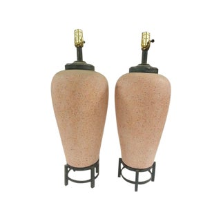 Chinese Stoneware Vase Lamps - A Pair