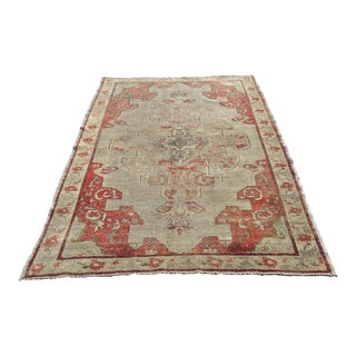 "Distressed Antique Turkish Anatolian Rug - 4'8""x6'10"