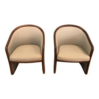 Brayton International Collection Wood & Upholstered Club Chairs, 1970s - A Pair