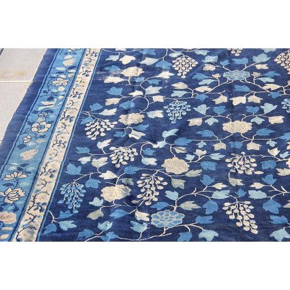 Indigo Blue Chinoiserie Art Deco Rug - 7′ × 20′ - Image 3 of 5
