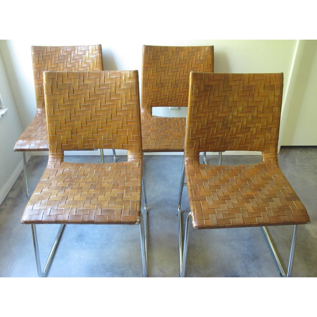 Modern Woven Leather Dining Chairs - Set of 4 - Image 8 of 8