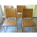 Image of Modern Woven Leather Dining Chairs - Set of 4