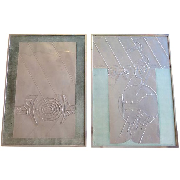 Image of Mid-Century Abstract Foil Art - A Pair