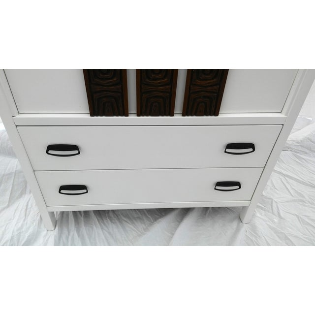 White Lacquered Mid-Century Modern Tall Dresser - Image 5 of 9
