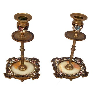 Elegant Antique French Enamel Candleholders