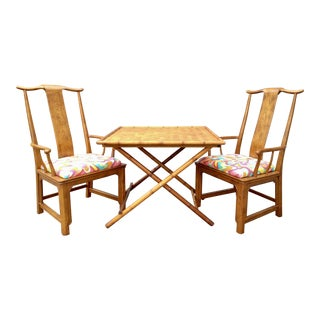 Folding Bamboo Table & Chinoiserie Chairs - Set of 3