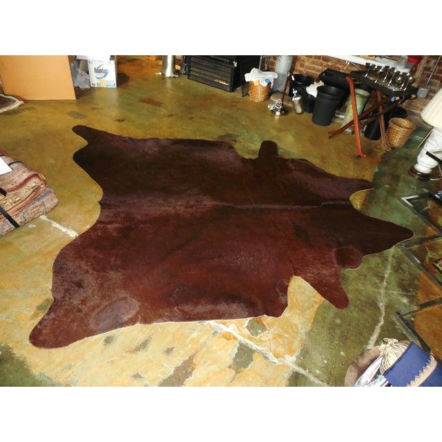 Large Chocolate Brown Cowhide Rug - 7′7″ × 8′10″ - Image 2 of 8