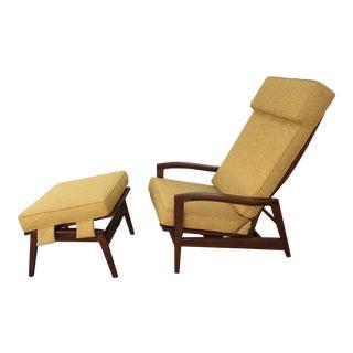 Walnut Adjustable Lounge & Ottoman