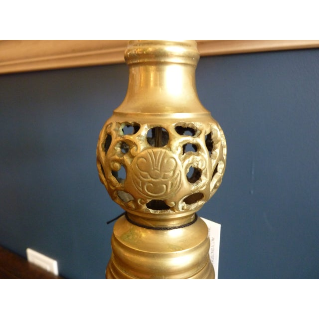 Punched Brass Column Table Lamp - Image 4 of 8