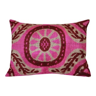 """Rosa"" Pink Ikat Silk Velvet Pillow"