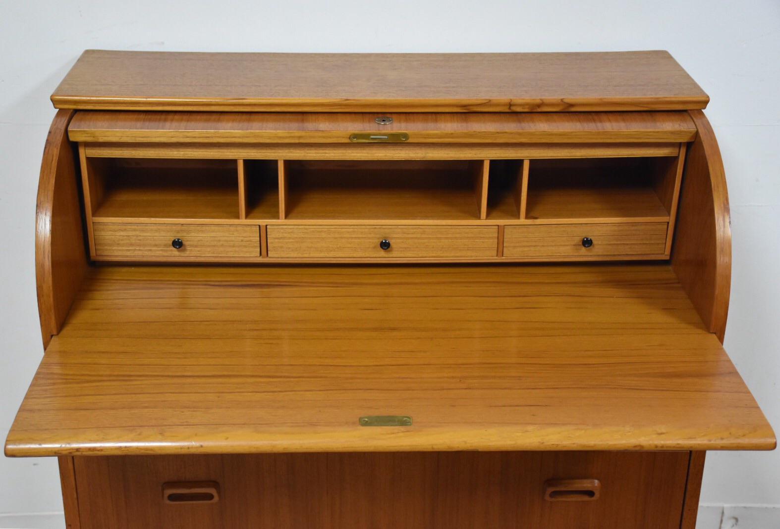 Swedish Modern Teak Roll Top Desk Chairish