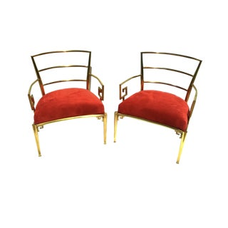 Pair of Mid-Century Italian Solid Brass Red Velvet Greek Chairs