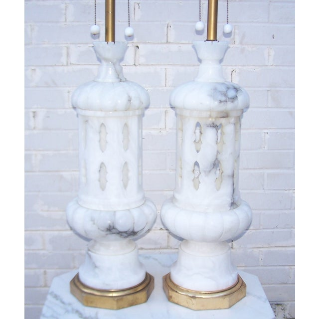 Image of Marbro 1950s Italian Alabaster Lamps - A Pair