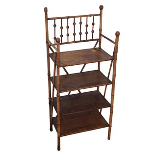 Antique 19th Century Burnt Bamboo Bookcase Etagere