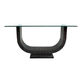"""20th Century """"U"""" Shaped Faux Marble Lacquered Console Table"""
