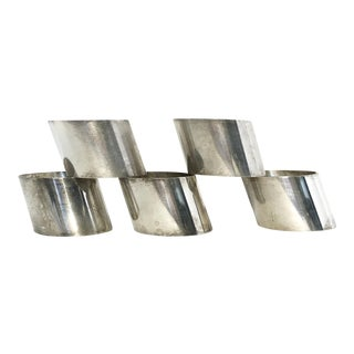 Vintage Modern Silverplated Napkin Rings- Set of 5