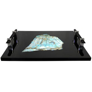 Polished Black Resin and Labradorite Tray by Michael Laut