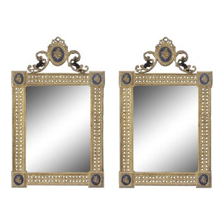 Early 20th Century French Louis XVI Dore Bronze and Enamel Mirrors - A Pair