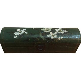 Vintage Green Leather Box with Flowers
