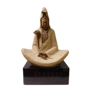 Handmade Clay Deep Meditation Kwan Yin Statue