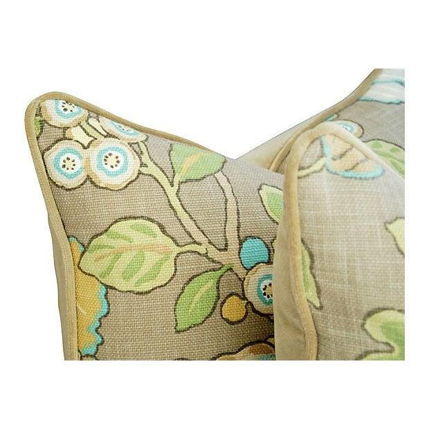 Designer Linen/Velvet Floral Pillows - A Pair - Image 6 of 7