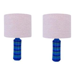 "Italian Ceramic ""Rimini Blue"" Table Lamps by Bitossi - A Pair"