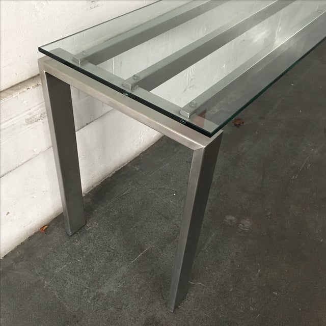 Modern Custom Steel & Glass Console Table - Image 8 of 9