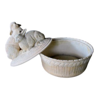 A Charming French Beige-Colored Pottery Bowl w/Decorative Lid