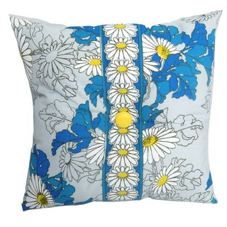 Vintage Alfred Shaheen Blue Daisy Accent Pillow