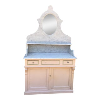 French Antique Two-Piece Marble Vanity